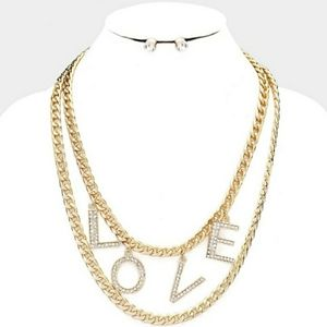Love Rhinestone Pave Layered Chain Necklace